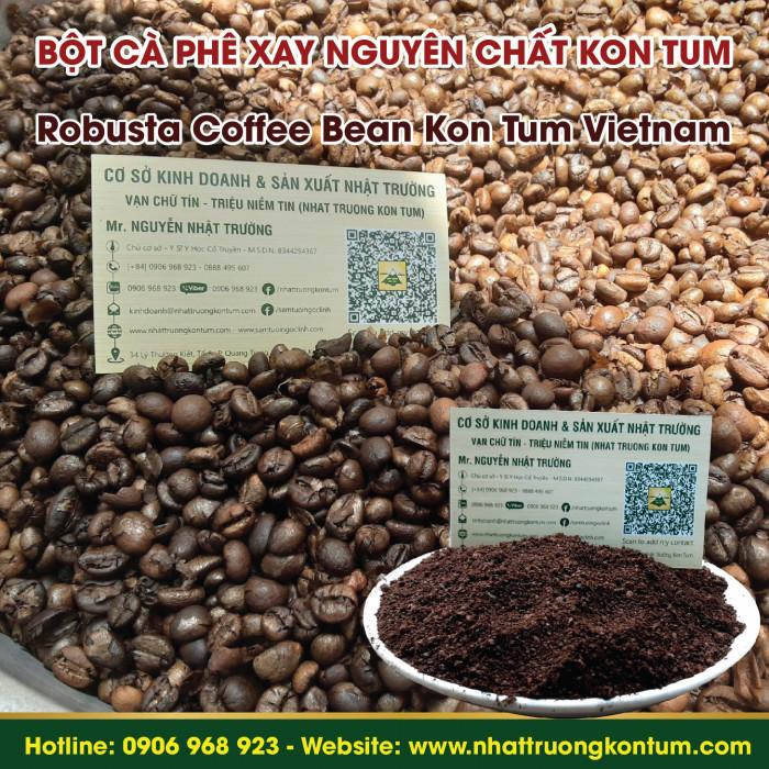Cà Phê Robusta Đã Rang Xay Nguyên Chất Nhật Trường Kon Tum - Robusta Coffee Beans Powder - Túi 1kg