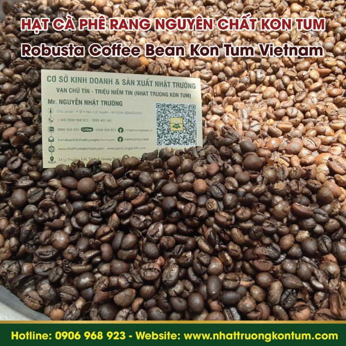 Hạt Cà Phê Robusta Đã Rang Nguyên Chất Nhật Trường Kon Tum - Roasted Coffee Beans - Túi 1kg