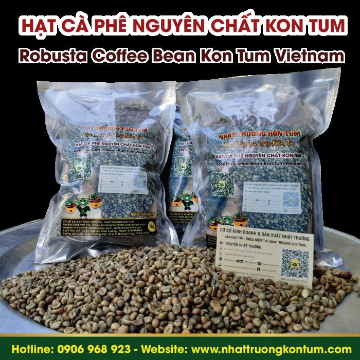 Hạt Cà Phê Robusta Nguyên Chất Nhật Trường Kon Tum - Robusta Coffee Beans - Túi 1kg