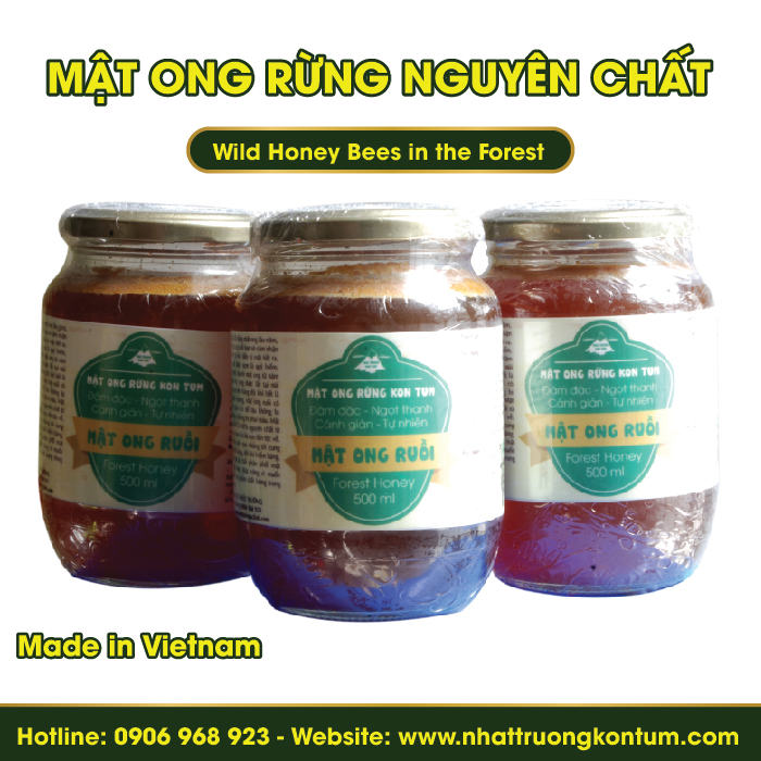 Mật Ong Rừng Nguyên Chất - Wild Honey Bees in the Forest - 500ml
